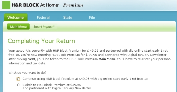H&R Block Online 2010 Screen Capture
